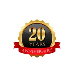 20 years anniversary golden label with ribbons vector image