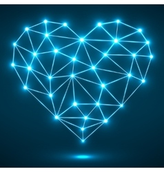 Abstract heart with glowing dots and lines vector