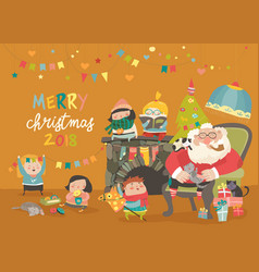 cartoon santa claus with kids and gifts vector image vector image