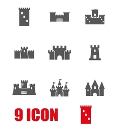 grey castle icon set vector image