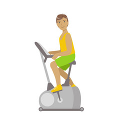 young brunette male is working out in a cycling vector image vector image