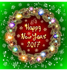 Christmas happy new year 2017 gold wreath red and vector image