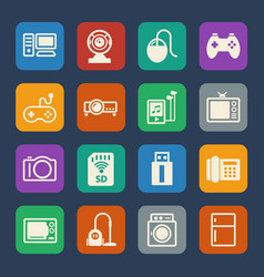 home electronic device icon flat icons set for vector image vector image