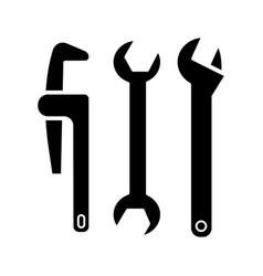 plumbing tools icon black vector image vector image