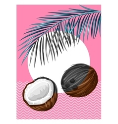 Poster with coconuts Tropical abstract background vector image vector image