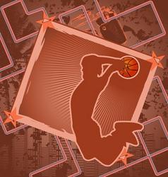 basketball vintage frame vector image vector image
