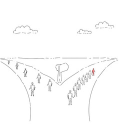 Group of business people walking on rad direction vector
