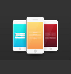 login screens mobile app material design ui ux vector image
