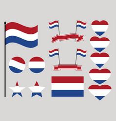 netherlands flag set collection of symbols heart vector image vector image