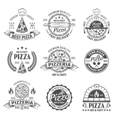 Pizzeria Black White Emblems vector image vector image