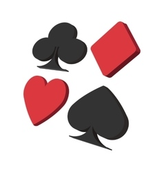 Playing card suit in black and red cartoon icon vector image