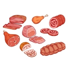 Sausages ham and baked meat sketch icons vector image