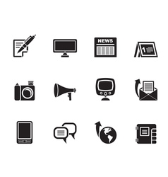 Silhouette Communication channels and Social Media vector image vector image