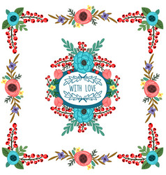 frame with ornament of flowers bouquet vector image vector image