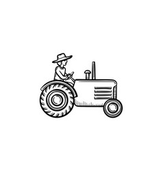 man driving tractor hand drawn sketch icon vector image