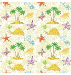Seamless pattern palm trees and sea animals vector image vector image