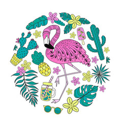 Set of hand drawn tropical elements with flamingo vector