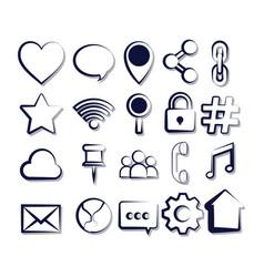 set of social media sketch icons vector image