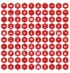 100 flowers icons hexagon red vector image