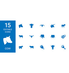 15 cow icons vector image