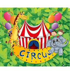 A circus tent with animals and kids vector