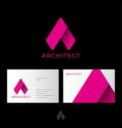 A letter architect logo pink origami identity vector