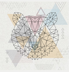 abstract polygonal tirangle animal bear vector image