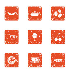 Acquisition icons set grunge style vector