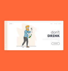 Alcoholism landing page template drunk sleazy man vector