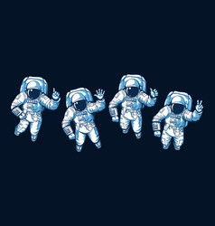 Astronaut ok hello victory signs vector