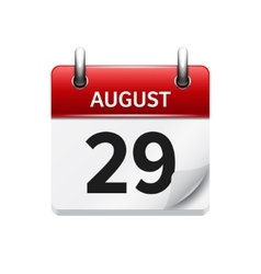 August 29 flat daily calendar icon Date vector