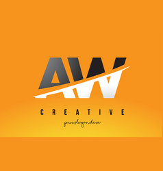 Aw a w letter modern logo design with yellow vector