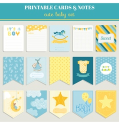 Baby Boy Card Set - for birthday baby shower party vector