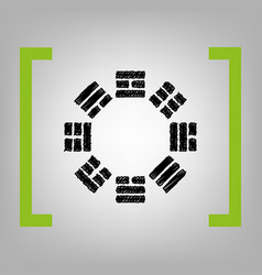 Bagua sign black scribble icon in citron vector