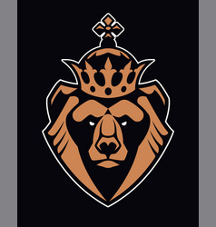 bear in crown mascot icon vector image