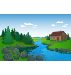 Beautiful Landscape With River vector image