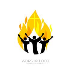 believers worship jesus christ vector image