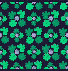 Blooming clover seamless pattern with trefoil vector