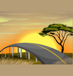 bridge across the field at sunset vector image