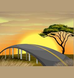 Bridge across the field at sunset vector