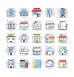 buildings icons 2 vector image