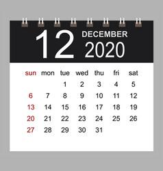 business calendar 2020 december notebook vector image