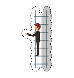 Businessman with stairs avatar character icon vector