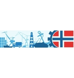 Cargo port norway flag in gear vector