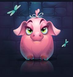 Cartoon big piggy girl vector