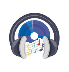 cd musical notes and headphone concept vector image