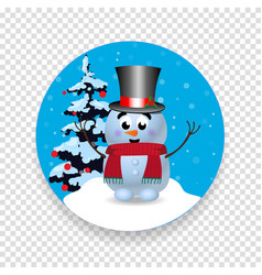 christmas new year round sign icon with cute vector image