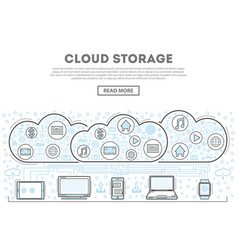 Cloud storage linear style infographics vector