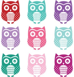 Colorful cute owl silhouette collections vector