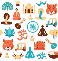 colorful india seamless pattern in flat style vector image